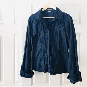 Kenar Tuxedo Ruffle Front Button Down Shirt- XL